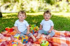 孩子孪生坐在玩具中的一条毯子 免版税图库摄影