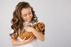 孩子宠物友谊概念-有在白色背景隔绝的红色小狗的小女孩 免版税库存照片