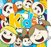 孩子小组动画片传染媒介 库存图片