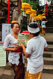 孩子帮助他的母亲 免版税库存照片