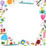 孩子开花框架-杂文被隔绝的图画背景 库存图片