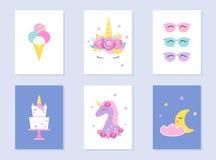 孩子微睡和夏天党邀请 独角兽和月亮 10个背景设计eps技术向量 库存照片