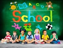 孩子想象力学会概念的手写学校 免版税库存图片