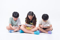 孩子戏剧片剂电话 库存图片