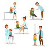 孩子拜访Icon Set医生的 图库摄影