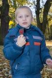孩子拿着秋天甜点 库存照片