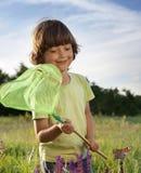 孩子捉住一只蝴蝶 免版税库存图片
