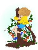 孩子是在果树 颜色女孩例证可爱的兔子微笑诉讼白色 免版税图库摄影