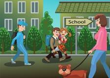 孩子是在途中到学校 向量例证