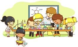 孩子是学习,并且工作在实验室里,由v创造 向量例证