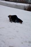 孩子是快乐和愉快的在公园周末在冬天 免版税库存照片