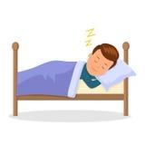 孩子是睡觉美梦 睡觉在床上的动画片婴孩 在平的样式的被隔绝的传染媒介例证 免版税库存图片
