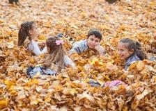 孩子是说谎和使用在落叶在秋天城市公园 免版税库存图片