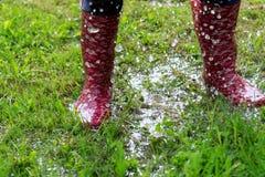孩子是跳和使用在草的水池 图库摄影