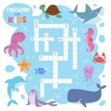 孩子杂志书难题比赛海水下海洋鱼和动物逻辑纵横填字谜活页练习题五颜六色可印 免版税库存照片