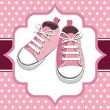 孩子桃红色运动鞋 图库摄影