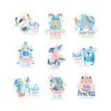 孩子棍打,并且宝贝玩具店商标设计集合、徽章与逗人喜爱的动物和鸟可以为婴孩商店,教育使用 向量例证