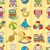 孩子模式无缝的玩具 设计明信片的,横幅,飞行物元素 库存照片