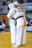 孩子欧洲冠军Kyokushin世界联合KWU和青年时期的2017年 免版税图库摄影