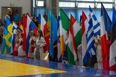 孩子欧洲冠军Kyokushin世界联合KWU和青年时期的2017年 免版税库存照片