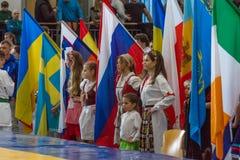 孩子欧洲冠军Kyokushin世界联合KWU和青年时期的2017年 库存照片