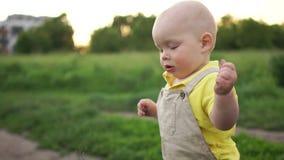 孩子沿道路单独走并且撕下花 婴孩的第一步 影视素材