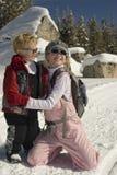 孩子滑雪 免版税库存图片