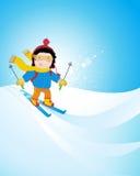 孩子滑雪 免版税图库摄影