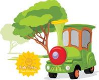 孩子火车在游乐园 免版税库存图片