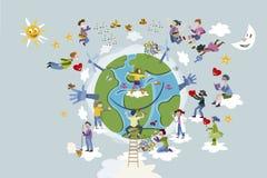 孩子照料行星地球 库存例证