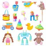 孩子玩具被设置的传染媒介象 上色男婴和女孩的,动画片例证玩具 库存例证
