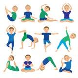 孩子瑜伽摆在传染媒介例证 做锻炼的孩子 孩子的姿势 健康儿童生活方式 婴孩体操 体育运动 皇族释放例证