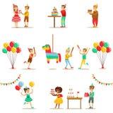 孩子生日聚会套场面 免版税库存图片