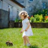 孩子用在草的一只兔子 免版税库存照片