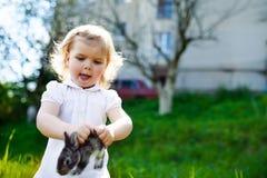 孩子用在草的一只兔子 免版税库存图片