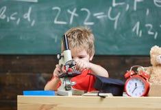 孩子男孩与显微镜一起使用在教室,在背景的黑板 繁忙的面孔的孩子在时钟和玩具熊附近 免版税图库摄影