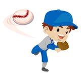 孩子男孩投掷球的棒球运动员 向量例证