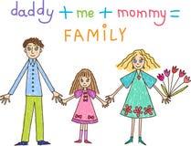 孩子画。 系列: 母亲、父亲和女儿 向量例证