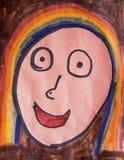 孩子画的面孔 库存图片