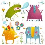 孩子的乐趣逗人喜爱的矮小的妖怪设计五颜六色 免版税库存图片