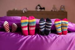 孩子的五颜六色的明亮的袜子 库存照片