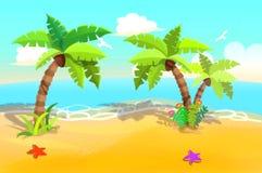 孩子的例证:与摇摆的棕榈树的美丽的沙子海滩 免版税图库摄影