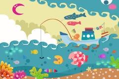 孩子的例证:大波浪妖怪追逐渔船 向量例证