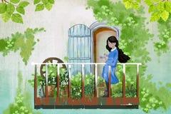 孩子的例证:女孩在她的阳台庭院里停留,喜欢拜访她的花朋友 免版税库存照片