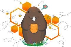 孩子的例证:由创伤蜂吃或不吃 熊得到甜蜂蜜蜂房并且犹豫 免版税库存照片