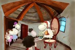 孩子的例证:绵羊王子提出婚姻对绵羊灰姑娘 免版税库存照片