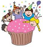 从孩子的党邀请用一块巨型杯形蛋糕 库存照片