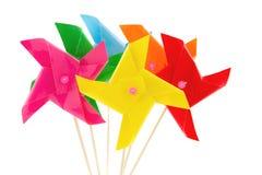 孩子的几个风车玩具 免版税图库摄影