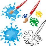 孩子的刷子和油漆传染媒介 图库摄影