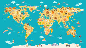 孩子的动物地图 世界孩子的,被说明的逗人喜爱传染媒介海报 图库摄影